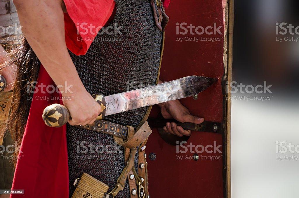 Roman soldier legionary with sword stock photo