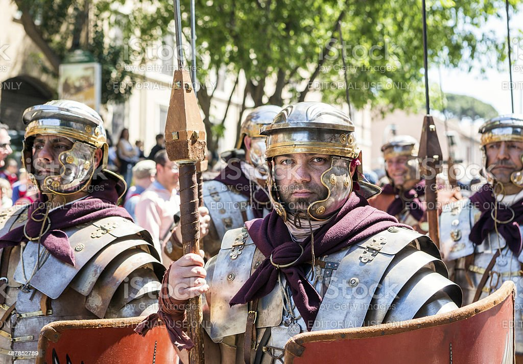 Roman soldiers in a historical parade, Rome Italy stock photo
