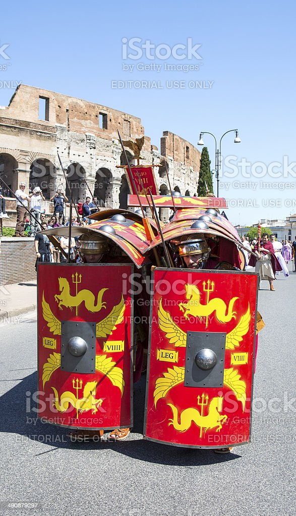 Roman soldiers in a historical parade, Rome Italy royalty-free stock photo