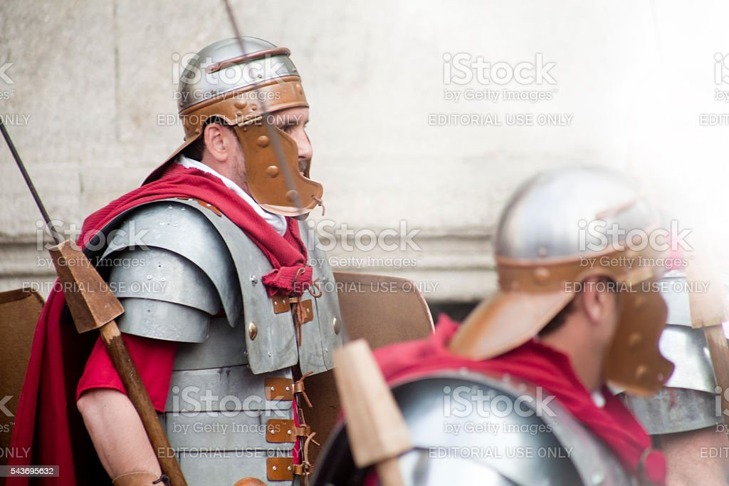 Roman soldiers in a traditional festival, 'Arde Lucus' stock photo
