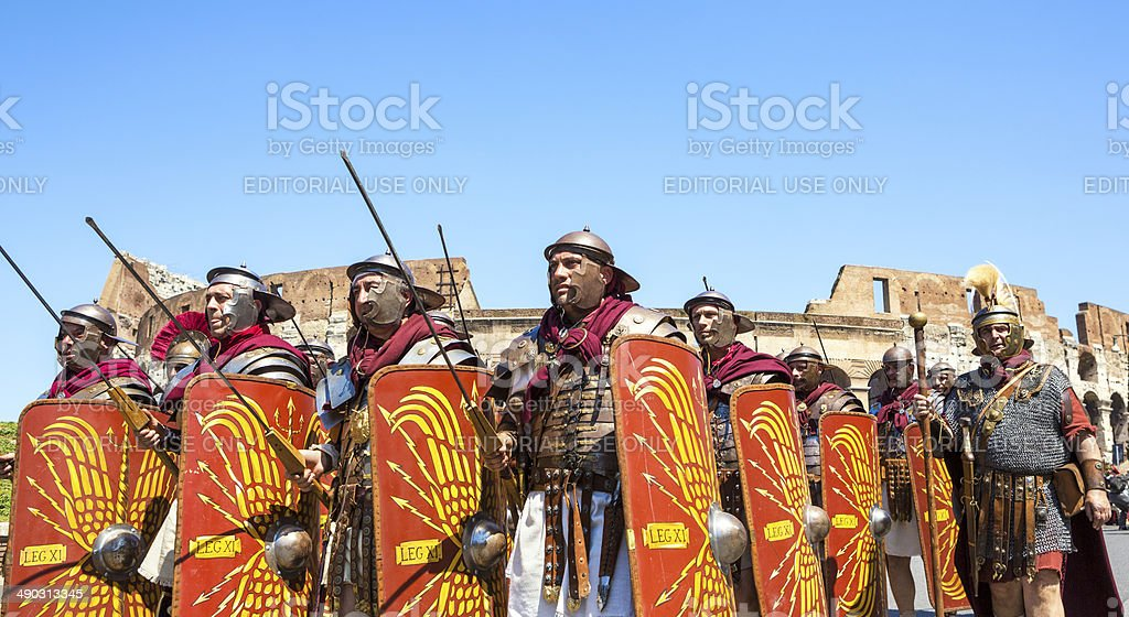 Roman soldiers marching in a historical parade, Rome Italy stock photo