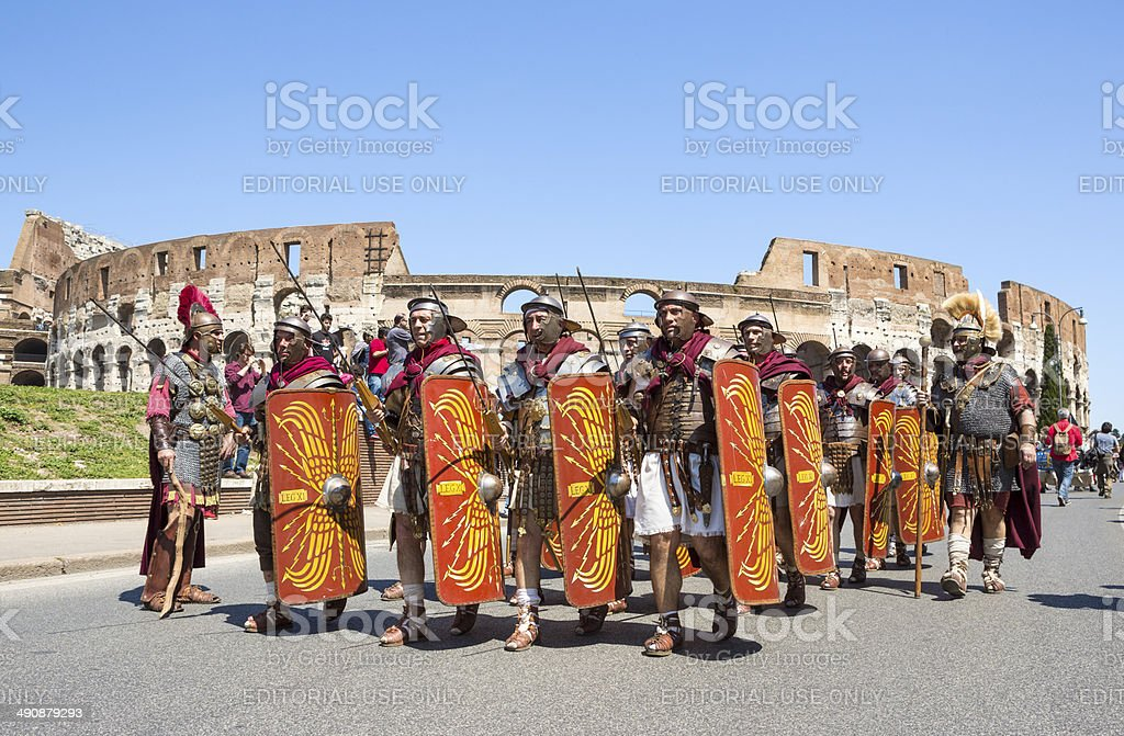 Roman soldiers marching in a historical parade, Rome Italy royalty-free stock photo