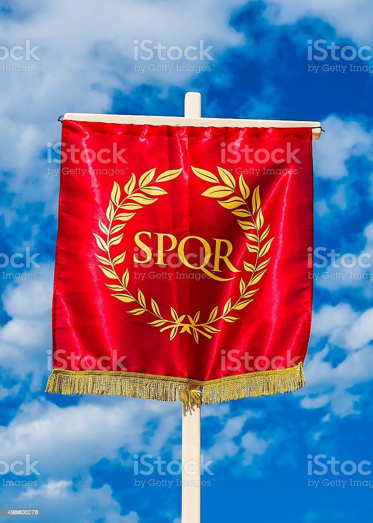 Roman SPQR vexillum stock photo