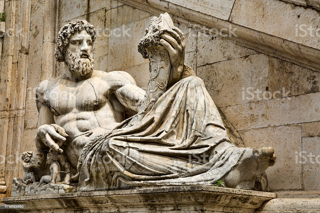 Roman Statue, Victor Emmanuel war memorials stock photo