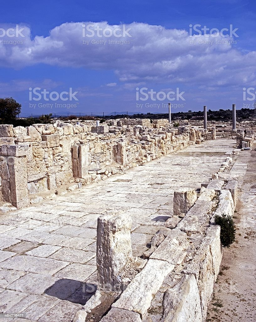 Roman street and Basilica, Kourion, Cyprus. stock photo