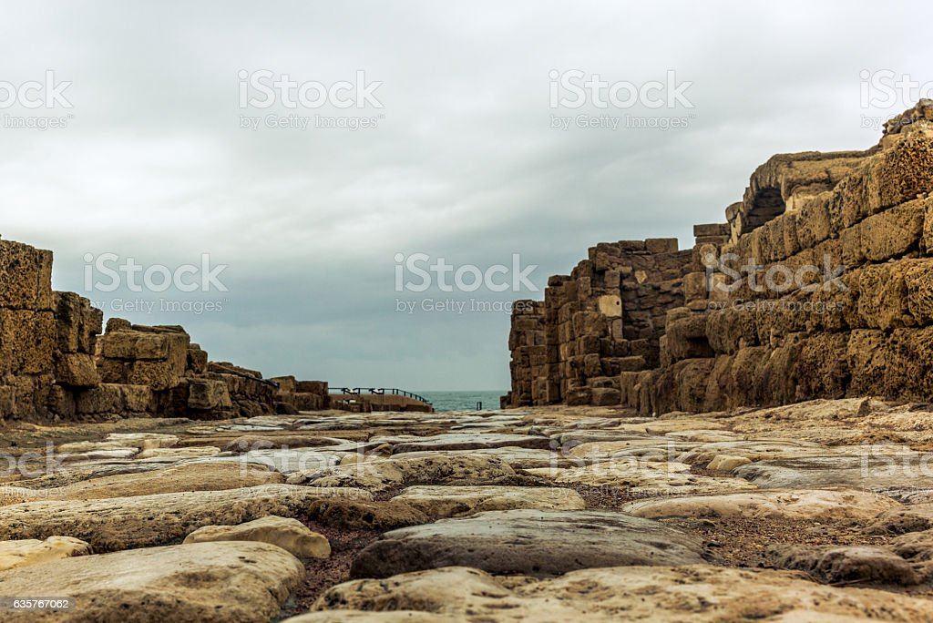 Roman street in the city of Caesarea in Israel stock photo