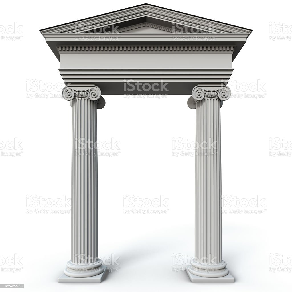 Roman style columns on a white background stock photo