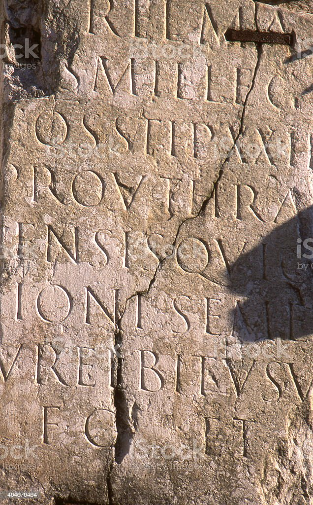 Roman tablet with lettering stock photo