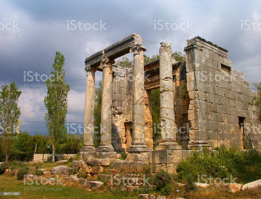 Roman Temple, Bziza, Lebanon stock photo