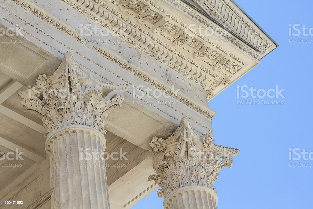 Roman Temple Details in Nimes, Provence, France royalty-free stock photo