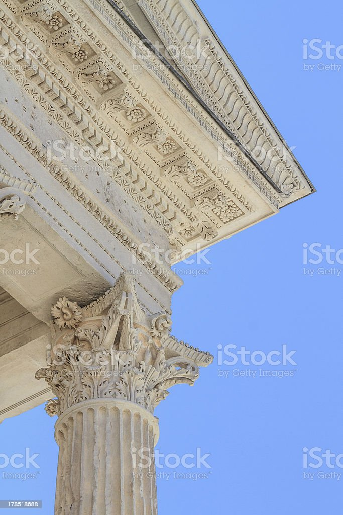 Roman Temple Details in Nimes, Provence, France stock photo