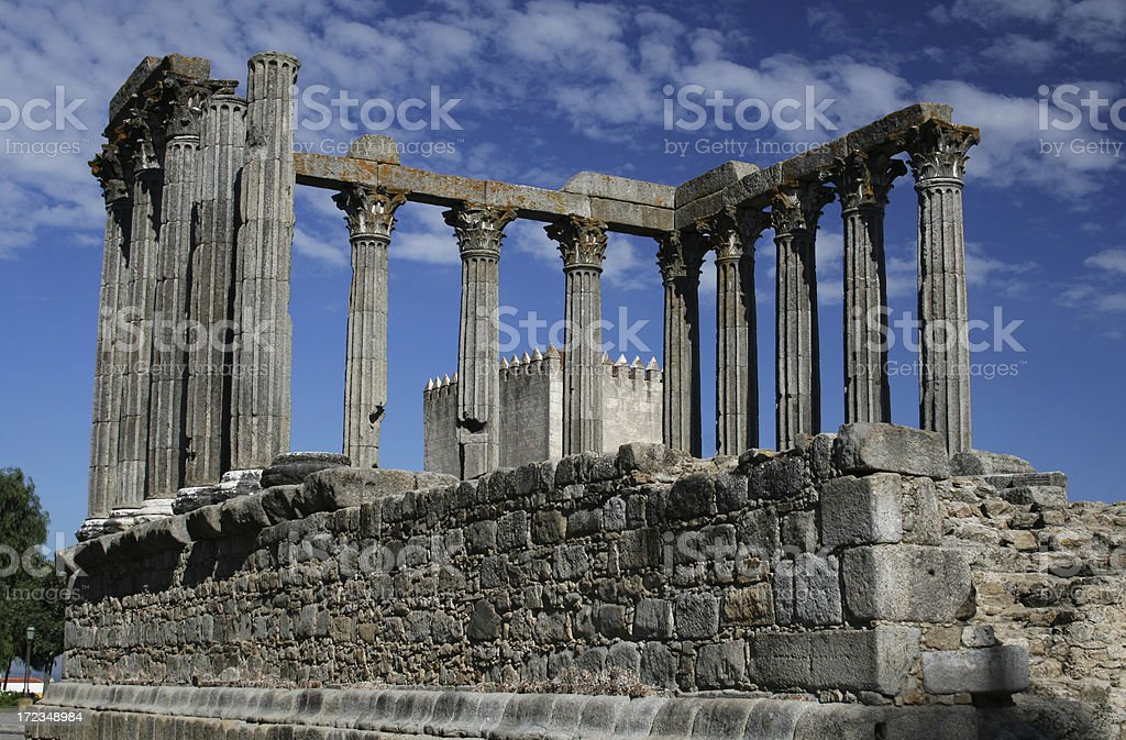 Roman temple in Évora stock photo