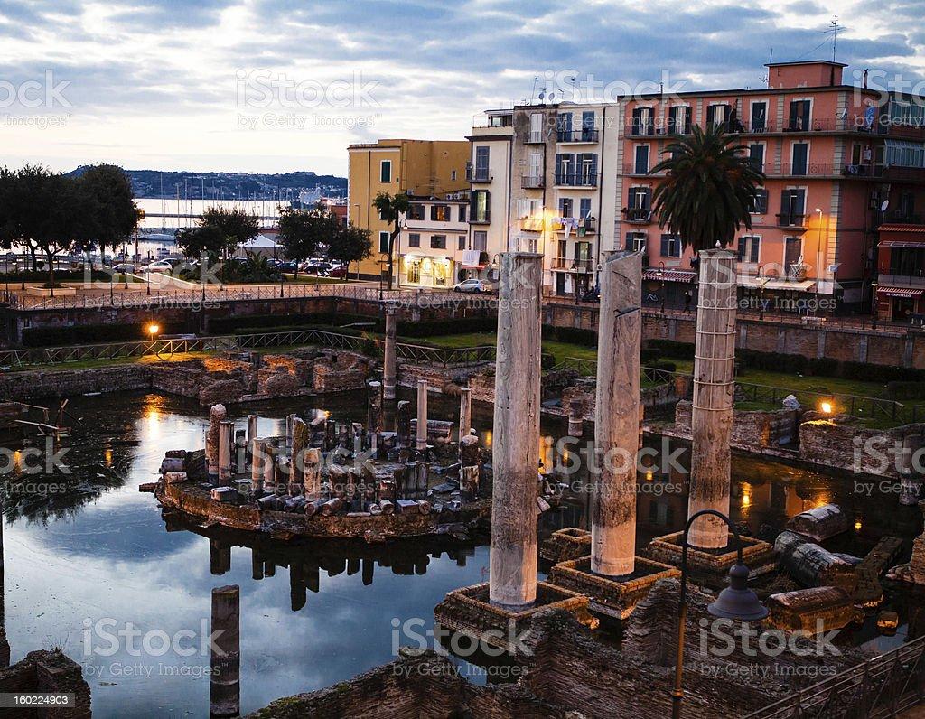 Roman Temple in Pozzuoli, Bay of Naples, Italy royalty-free stock photo