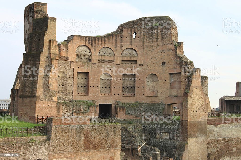 Roman temple in the Palatine hill stock photo