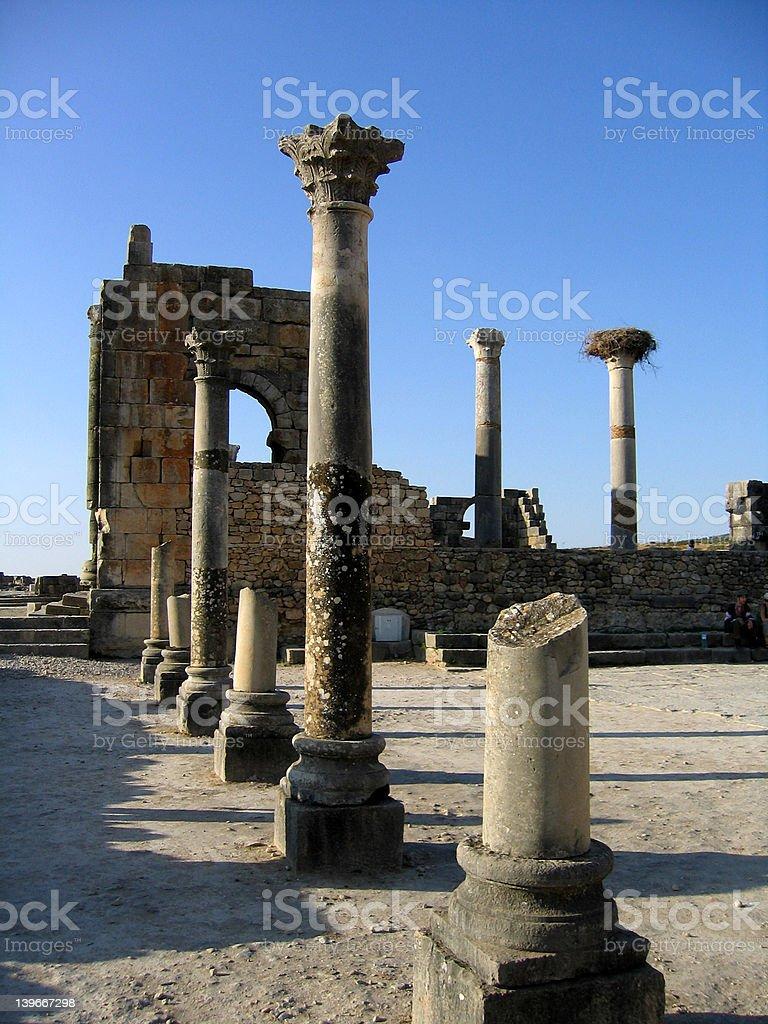 Roman temple in Volubilis royalty-free stock photo