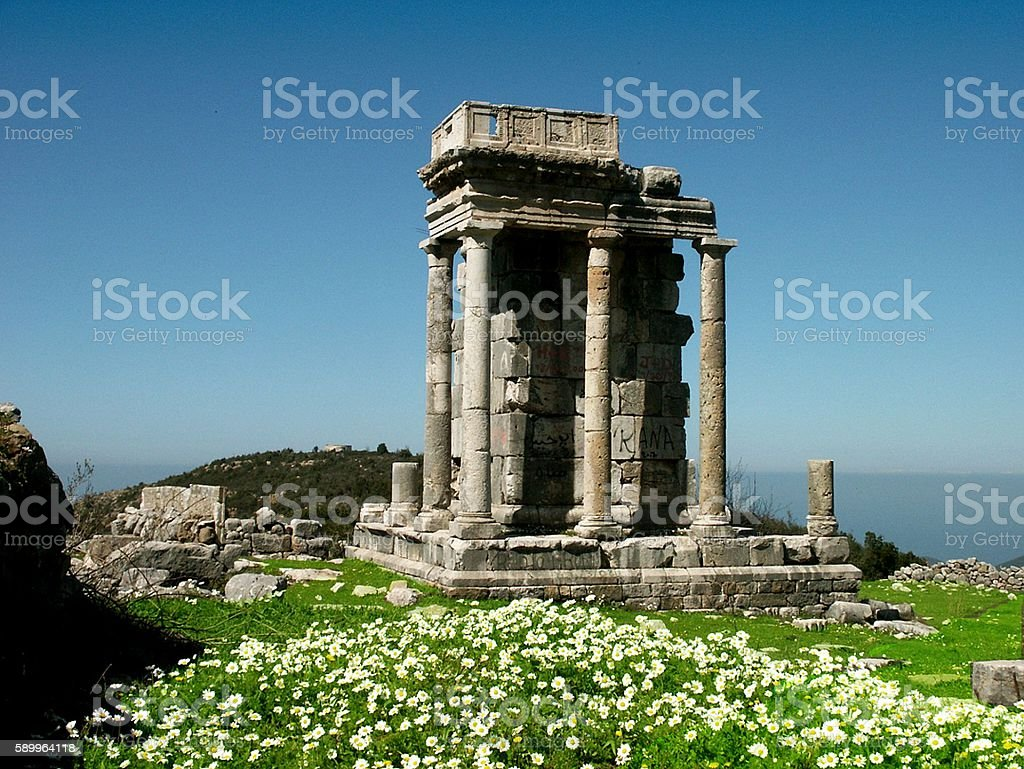 Roman Temple, Mashnaqa, In spring, Lebanon stock photo