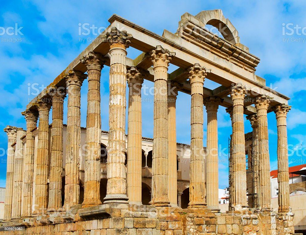 roman Temple of Diana in Merida, Spain stock photo