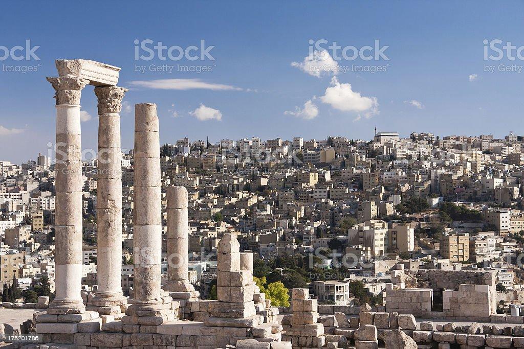 Roman temple of Hercules in the Amman Citadel in Jordan stock photo
