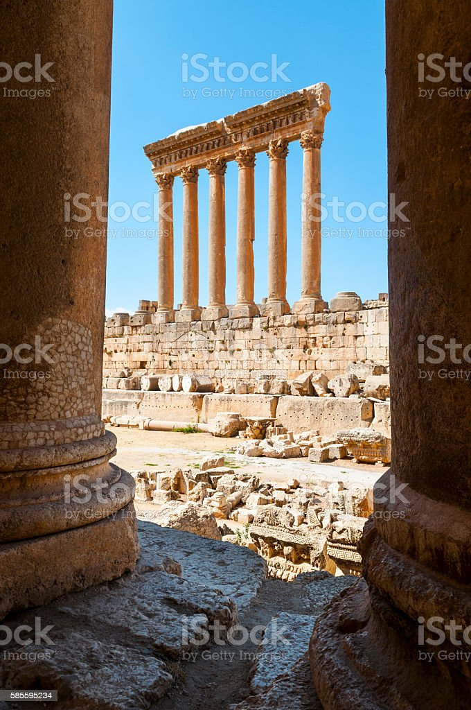 Roman Temple of Jupiter columns in Baalbek, Lebanon stock photo