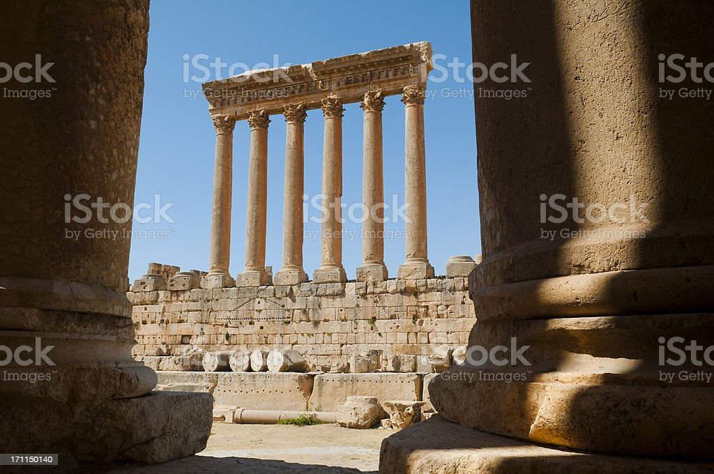 Roman Temple of Jupiter in Baalbek, Lebanon royalty-free stock photo