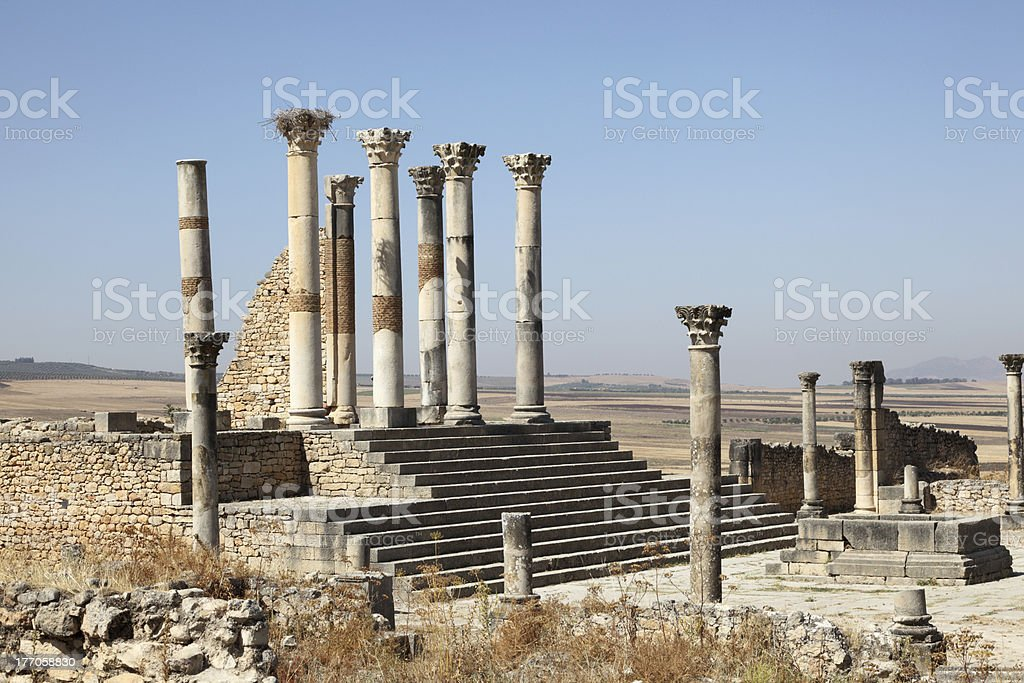 Roman temple ruin in Volubilis, Morocco stock photo