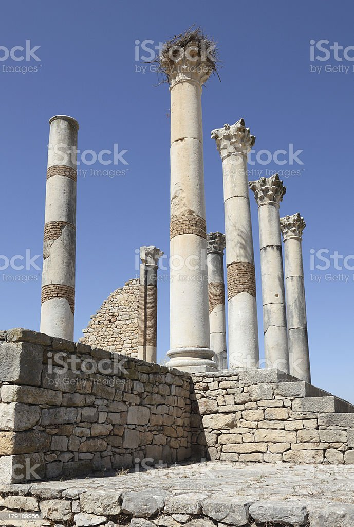Roman temple ruins in Morocco royalty-free stock photo