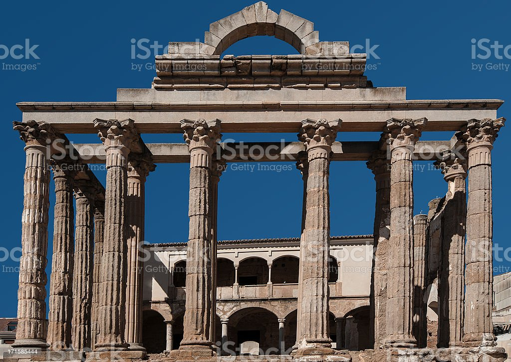 Roman Temple to Diana, Mérida, Spain royalty-free stock photo