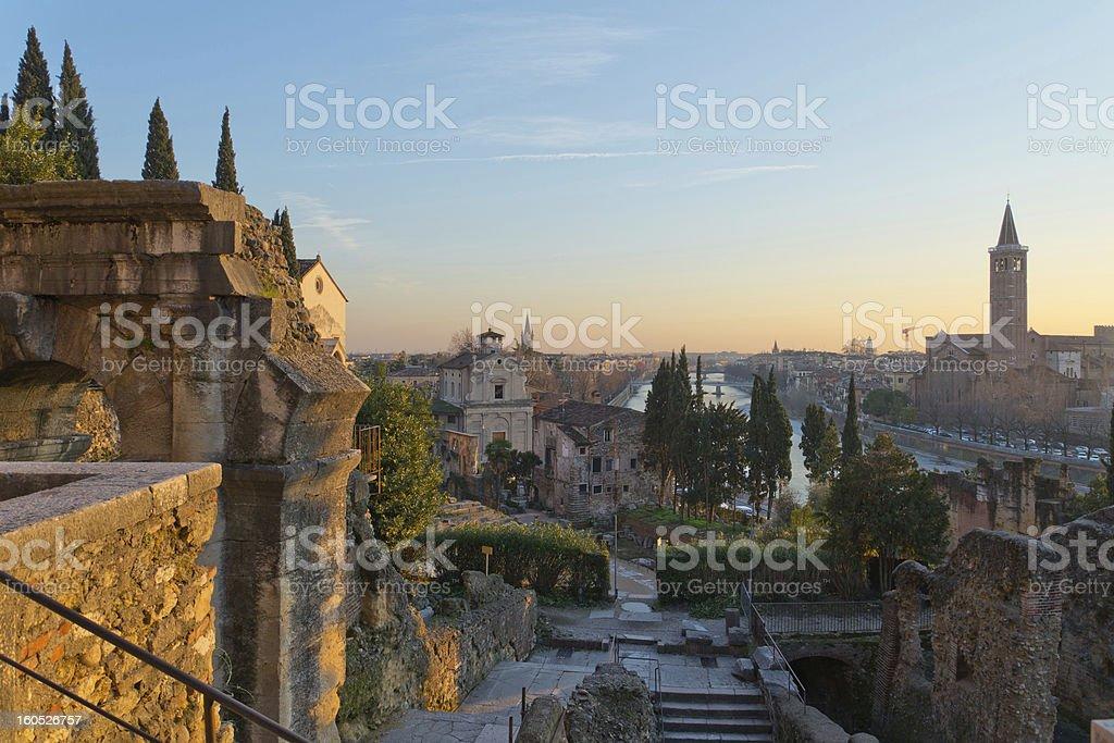 Roman theater at sunset stock photo