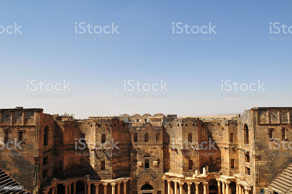 Roman theater in Bosra, Syria stock photo