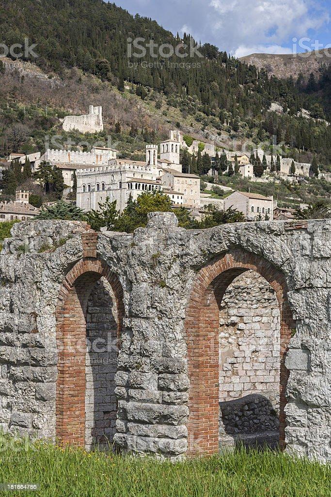Roman Theatre and Gubbio cityscape, Umbria Italy royalty-free stock photo