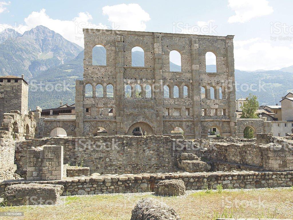 Roman Theatre Aosta royalty-free stock photo
