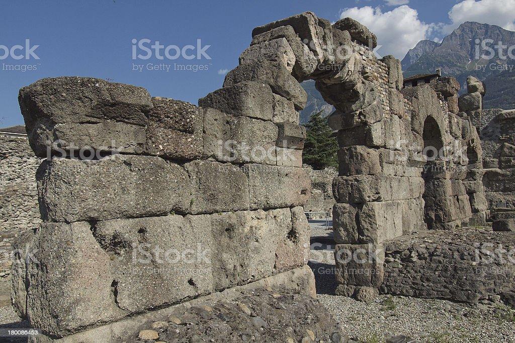 Roman Theatre in Aosta royalty-free stock photo
