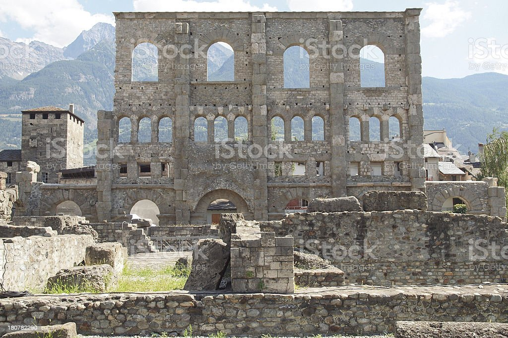 Roman Theatre in Aosta royalty-free stock photo