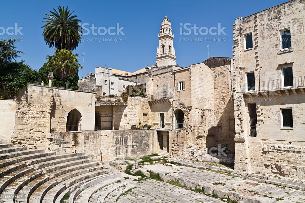 Roman Theatre in Lecce old town stock photo