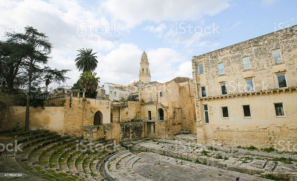 Roman Theatre in Lecce, Puglia, Italy stock photo
