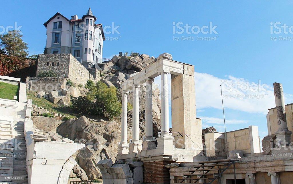 Roman theatre in Plovdiv, Bulgaria stock photo