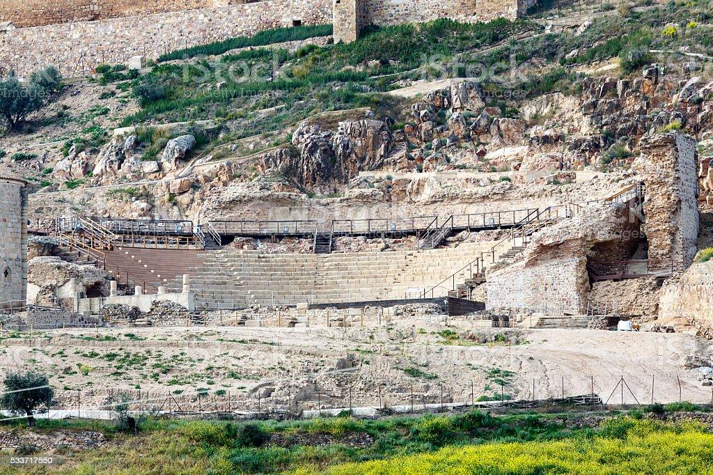 Roman theatre Medellin, Spain stock photo