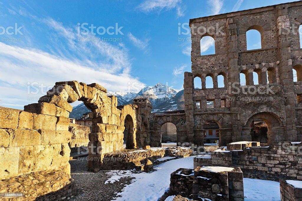 Roman Theatre of Aosta stock photo