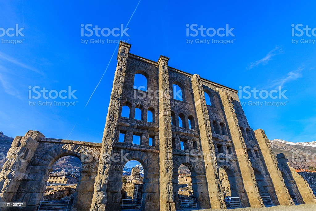 Roman Theatre of Aosta stock photo