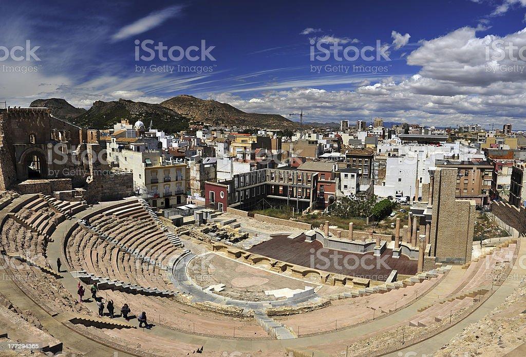 Roman theatre of Cartagena stock photo