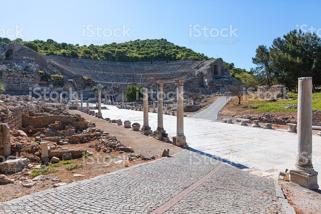 Roman theatre of Ephesus in Turkey. stock photo