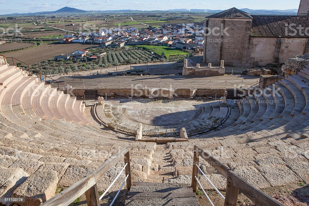 Roman theatre of Medellin, Spain stock photo