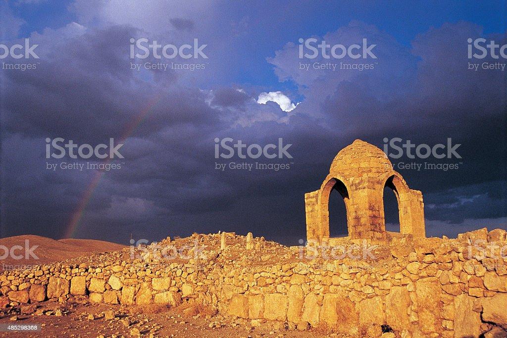 Roman Tomb Under Rainbow stock photo
