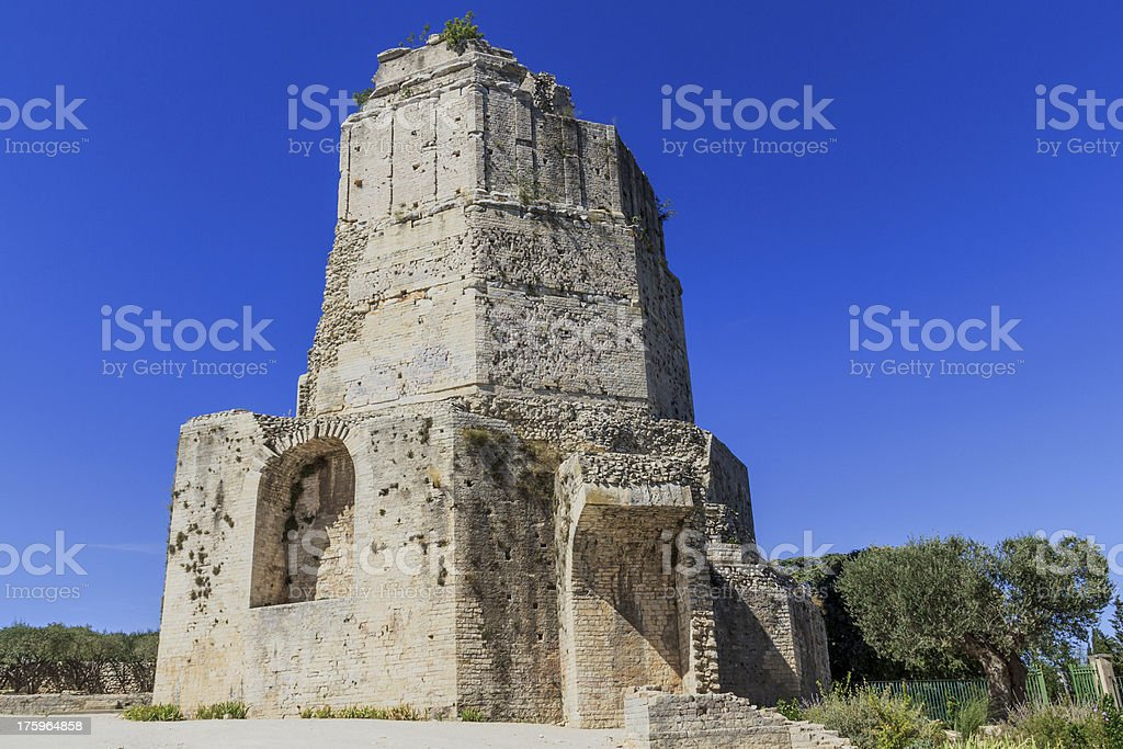 Roman tower in Nimes, Provence, France royalty-free stock photo
