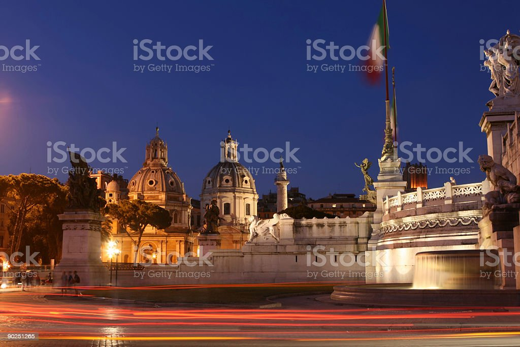 Roman view by night, Rome Italy royalty-free stock photo