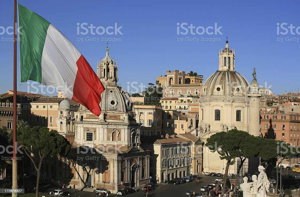 Roman view with Italian flag, Rome Italy stock photo