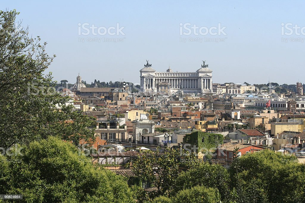 Roman view with Monument of Vittorio Emanuele II royalty-free stock photo