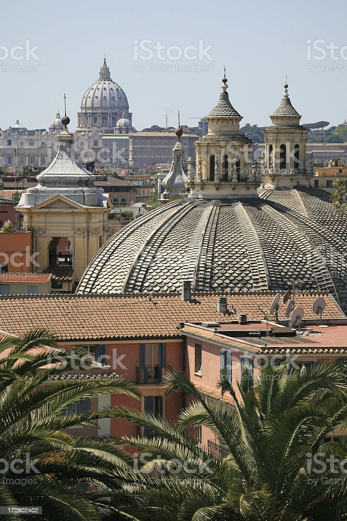 Roman view with palm trees and churches royalty-free stock photo