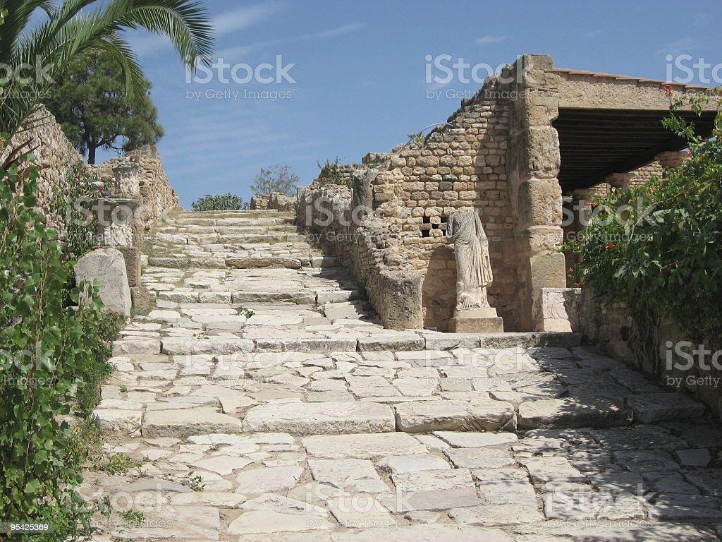 Roman Villa and Street, Carthage, Tunisia stock photo