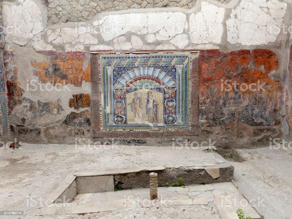 Roman villa with a wall mosaic, Herculaneum stock photo